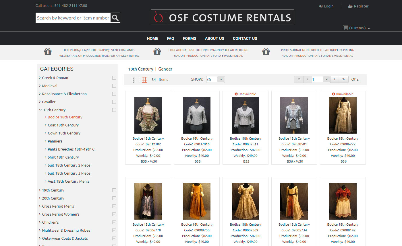 OSF Costume Rentals Website Search Page
